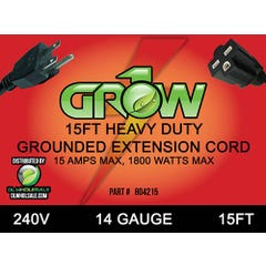 Grow1 240V Extension Cord 14 Guage 15'