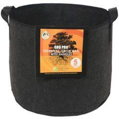 Gro Pro Essential Round Fabric Pot w/ Handles 5 Gallon - Black (90/Cs)